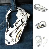 Outdoor EDC Stainless Keychain Screwdriver Wrench Carabiner Pocket Multi Tools w