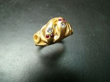 Beautifully detailed 14k gold antique style snake ring with diamonds and rubies
