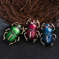 EG_ Women's Genuine Brooch Green Scarab Beetle Insect Brass Pin Bug Jewelry Happ