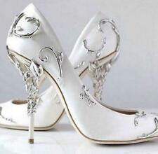 Womens high heel metal decor pointed toe shoes wedding pumps party stilettos