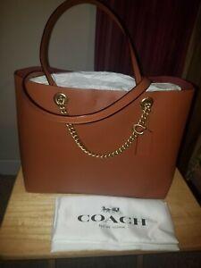 COACH  Refined Calf Leather Signature Chain ConvertibleTote, Brown/Saddle #78218