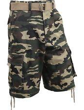 Mens Cargo Shorts with Belt 30 52 Twill Short Camo Pants Summer Multi Pocket IH