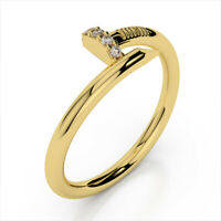 Round Cut 0.10 Ct Diamond Engagement Cluster Ring 14K Yellow Gold Band 7.5 8 6