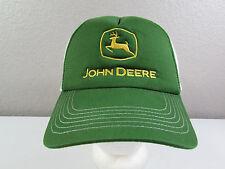 John Deere Snapback Adjustable Hat Mesh Cap Green White Yellow Embroidered Logo