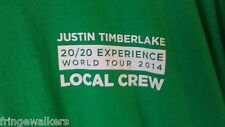 Justin Timberlake 20/20 Experience 2014 World Tour Backstage T Shirt Concert Xl
