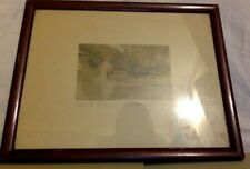 Framed Color Lithograph. Below The Arches. Signed Wallace Nutting. 5 1/2 x 6 1/2