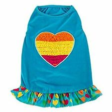 Top Paw Purple Rainbow Heart Blue Dress /Heart Ruffled Skirting Small