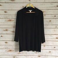 Exclusively Misook Women's Black Open Front Cardigan Size Medium
