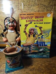 Vintage Marx Tin Litho Nutty Mad Indian Drummer Wind Up Toy w/ Box