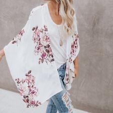 Women Dolman Sleeve Floral Chiffon Summer Beach Kimono Cardigan Coats Loose Tops