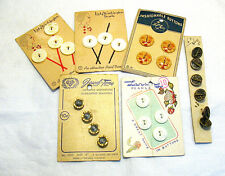 VINTAGE CARDED BUTTON LOT OF 6 CARDS 25 BUTTONS PEARL MOONSTONE ETX