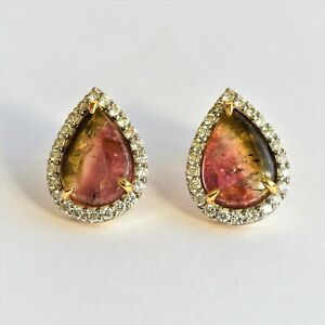 NATURAL TOURMALINE EARRINGS 69pts GENUINE DIAMONDS 9K GOLD VALUATION $4880 NEW