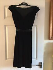 Marks & Spencer Black Velvet Feel Party / Dinner Dress - Size 8