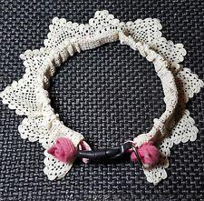 "GIRLY DOG! Hand Crocheted Lace M-L-XL SHEATH w/NEW Nylon 21"" XL PINK Collar"