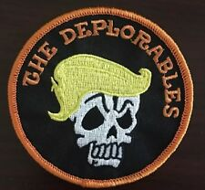 "Made In The USA! 3-1/2"" Round Deplorable Harley Motorcycle Patch. Orange Border"