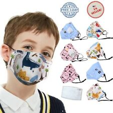 Reusable Kids Cotton Face Mask with Filter Pocket & Filters | 🇺🇸Seller