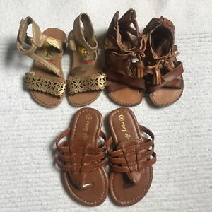 Toddler Girls Sandals 3 Piece Ankle Straps Size 6 Brown Khaki Tan Slippers