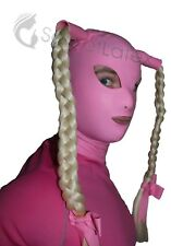 PINK LATEX RUBBER GUMMI HOOD MASK TIGHT HANDMADE PIGTAILS COSPLAY SUIT UK STOCK