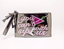 """INC New Years Holiday Wristlet $39 NWT """"You Can't Sip with Us"""" Silver Clutch"""
