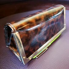 Tory Burch Sunglass Case Goldtoned Tortoise Animal Prin Eyeglass Cosmetic Clutch