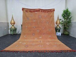 "Moroccan Handmade Cactus Silk Rug 5'7""x9'1"" Sabra Geometric Faded Orange Rug"
