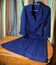 Vintage 1940s Navy Blue Day Dress.  Medium