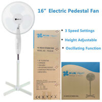 """White 16"""" Pedestal Oscillating Stand Standing Cooling Fan Home Cool Air Tower"""