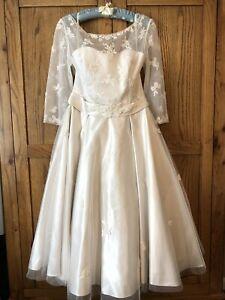 Wedding dress Loulou size 14 Vintage Tea Swing 1950's Rockabilly 3/4 Sleeve