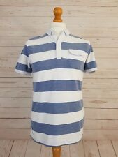 Nanny State Men's Blue & White Stripe Short Sleeve Buttoned Neck Polo Top Size M