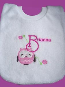 Personalised Baby Bib Owl Any Name Gift New Baby/Twins/Naming Day/Creche