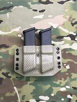 FDE Carbon Fiber Kydex Dual Magazine Carrier for Glock 9 .40 .357