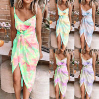 Womens Belt Sundress Holiday Ladies Tank Split Strappy Tie-Dye Beach Midi Dress