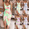 Womens Belt Sundress Holiday Ladies Tank Split Strappy Tie-Dye Beach Midi Dress