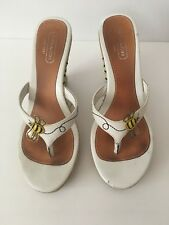 AUTHENTIC COACH Mattie Bumble Bee White Leather Wedges Size 7