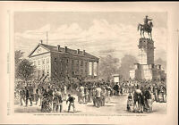 Richmond Virginia Calamity crowd outside Capitol building 1870 engraved print