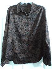 ANN TAYLOR Top Shirt Blouse Sz 8 Black Brown Animal Print L/S EUC FREE SHIPPING