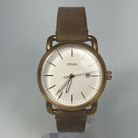 Fossil Womens ES4335 The Commuter White Dial Brown Leather Strap Watch