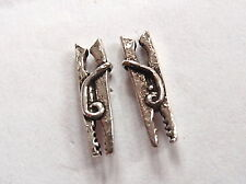 Clothes Pin Stud Earrings 925 Sterling Silver Corona Sun Jewelry laundrette wash