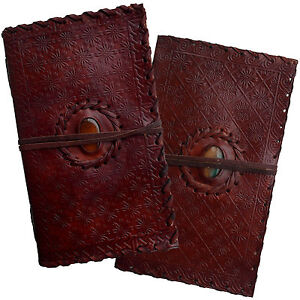 """9"""" Handmade Real Leather Floral Diary Journal Sketchbook Handmade Paper & Stone"""