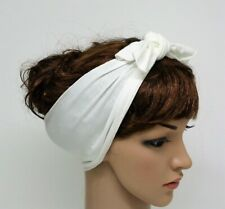 Cream Headband , Self Tie Hairscarf, Rockabilly Hair Wrap, Stretchy Hair Tie