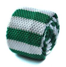 Frederick Thomas tricoté mince vert et blanc Cravate Rayée pour hommes ft1733