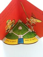 1958 Vtg BASEBALL Lucky Ball & FIELD Inside Doehla BIRTHDAY GREETING CARD