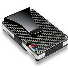 Mens Slim Card Holder RFID Blocking Metal Wallet Purse Carbon Fiber Money Clips Stainless Steel Black