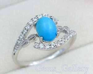 8X6 MM Oval Natural Turquoise Gemstone 14K Solid Rose Gold Wedding Ring For Her