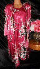 Nightgown/Peignoir Set. XL, NWOT Kimono Deals. Hot Fushia, peacock design. LOOK!