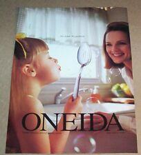 1999 print ad - Oneida Moraine silverware Cute little girl blowing bubbles PAGE