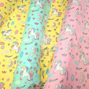 Rainbow Unicorns 100% Cotton Fabric Kids Prints Children | Half Metre continuous