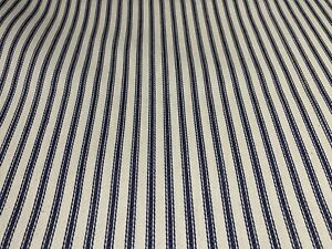 French Ticking Stripe In Navy/Ivory Cotton Herringbone Weave Fabric By The Metre