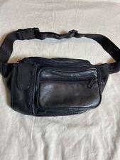 Vintage Leather Fanny Pack Waist Purse Black Multi Pocket Large Adjustable Strap