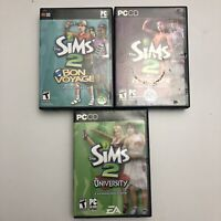 LOT of 3 The Sims 2 Video Game PC CD-ROM Expansion Packs + Manuals. Teen Nightli